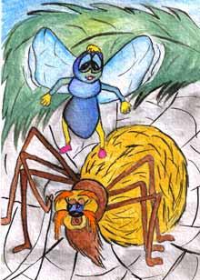 Паук для мухи постарался И под венец уже собрался.  Построил он из паутины.