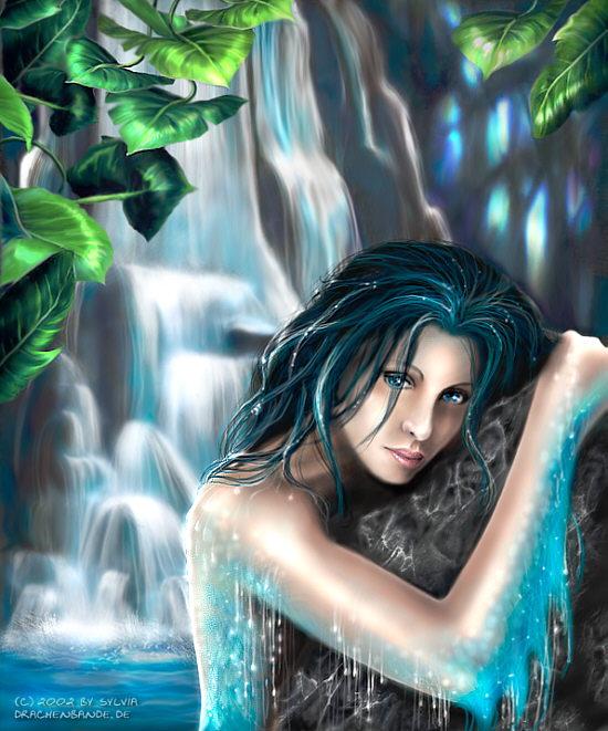 Какая русалка красивее? (больше вам нравится).  Тёмно-волосая, голубо-глазая, нежная, скромная или Кария-глазая...