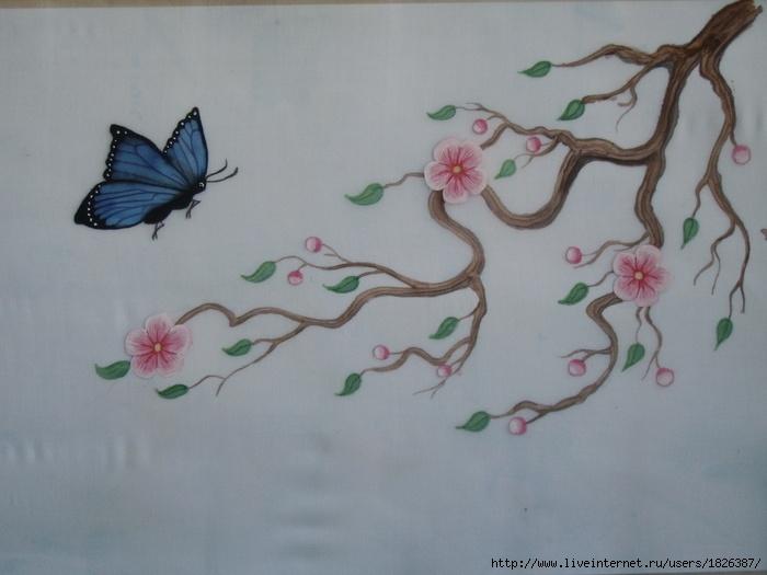 детский рисунок ветка сакуры