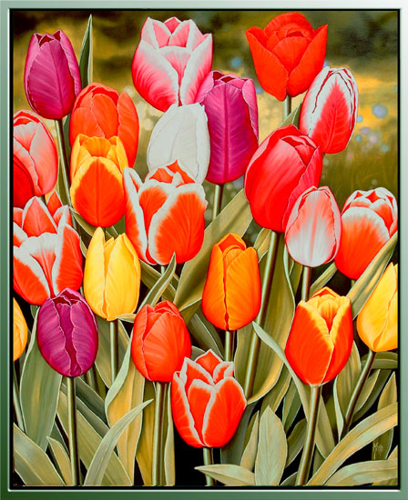 """Оригинал схемы вышивки  """"Натюрморт, цветы, тюльпаны """" ."""