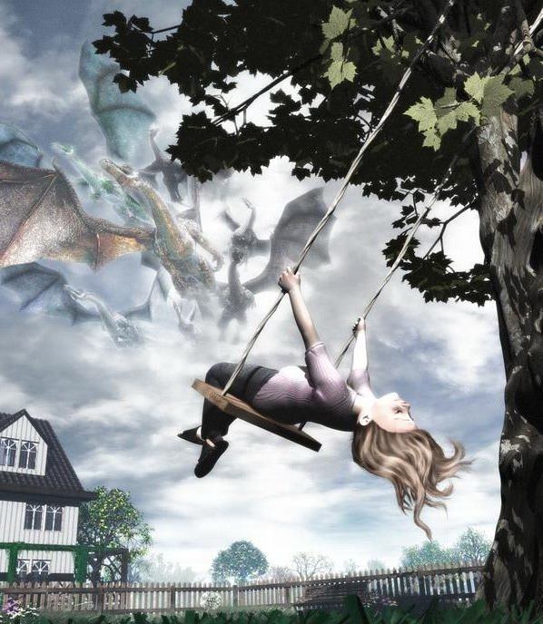 Картинки девушек катающийся на качели