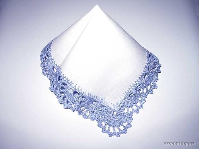 Вязание крючком Модели носовые платочки платочек с ракушками.