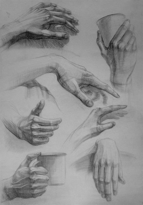 тяжело рисовать руки...вот