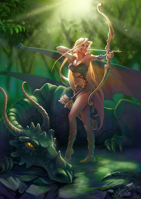 Sexy-Woman-With-Green-Dragon