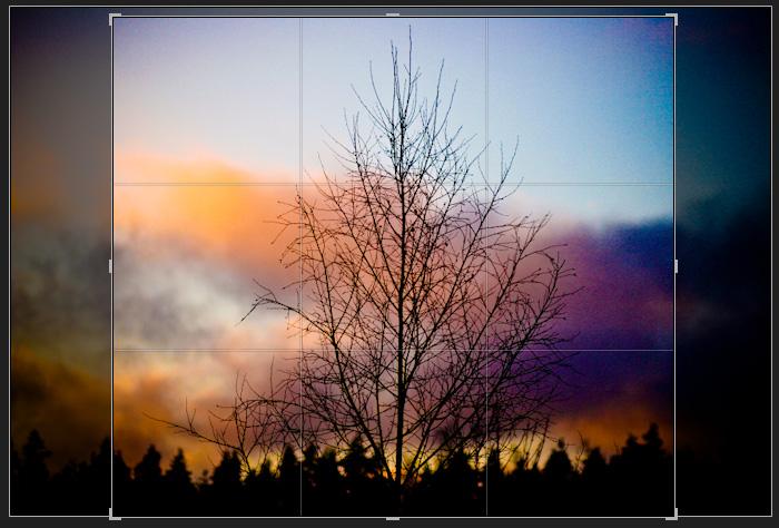 Пример виньетирования. Кадр — сумасшедшие рассветные цвета на финской границе