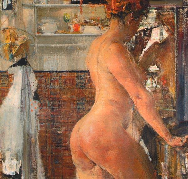 Николай Фешин (1881-1955). Обнаженная в ванной комнате (1916)