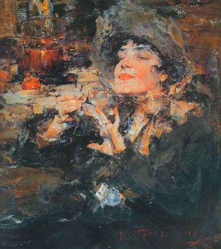 Николай Фешин (1881-1955).Дама за маникюром (Портрет m-lle Жирмонд) (1917)