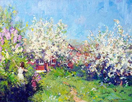 Картина весенний сад косничев к