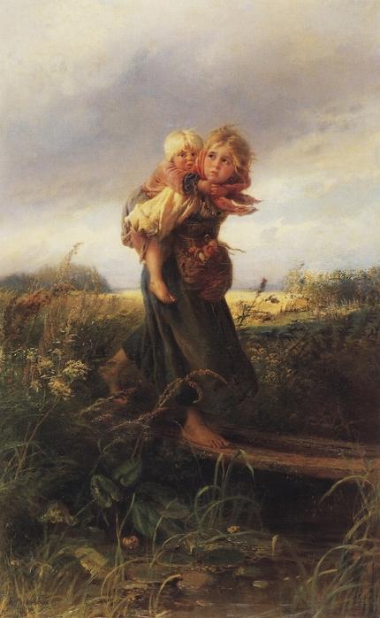Дети, бегущие от грозы (430x698, 232Kb)