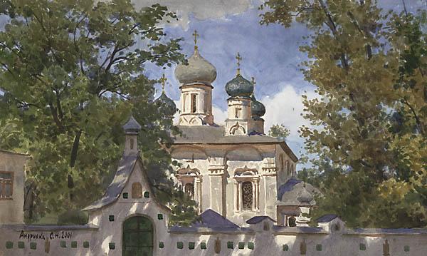 """освещение. дерево. церковь.  Бумага, акварель, 33х55 см. На страницу автора. в галерею  """"Город """". монастырь."""
