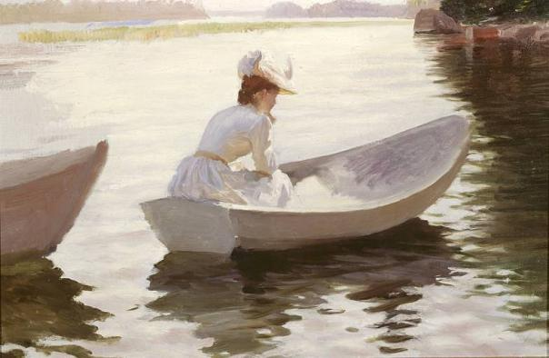 Альберт Эдельфельт Женщина в лодке 1881 СС (604x394, 33Kb)