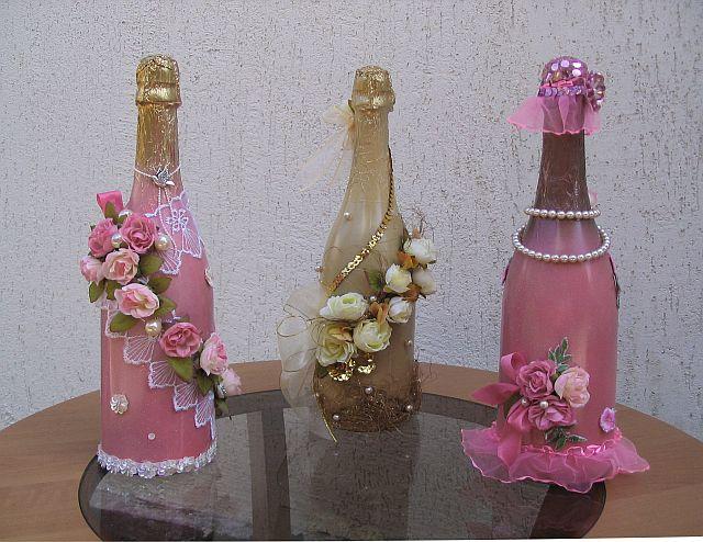 Как украсить бутылки с шампанским своими руками