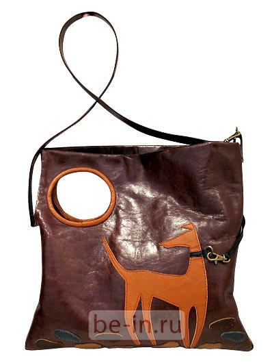 Сумка женская кожаная квадратная бордовая с аппликацией @ONE Где купить?