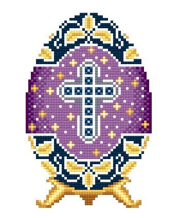 Solaria Gallery.  Цены в магазинах.  Серебряный крест на фиолетовом, 7,8х12,2, аида 16, 14 цветов, счетный крест.