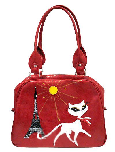 Сумка женская кожаная красная с кошкой и Эйфелевой башней @ONE Где...
