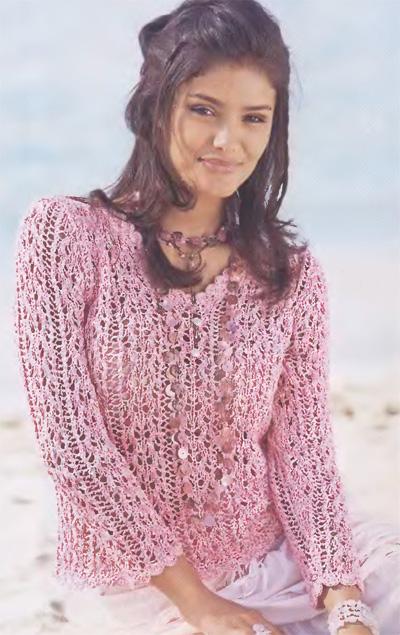 Розовый ажурный пуловер.  Пуловер с V-образным вырезом.