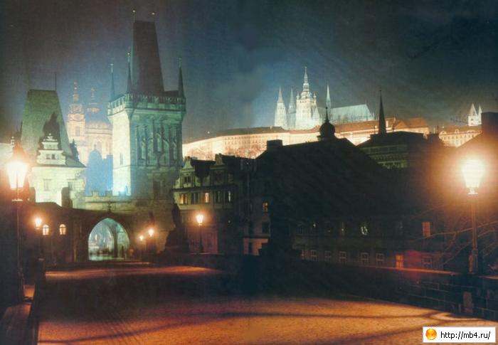 Ночь. Прага. Карлов мост.