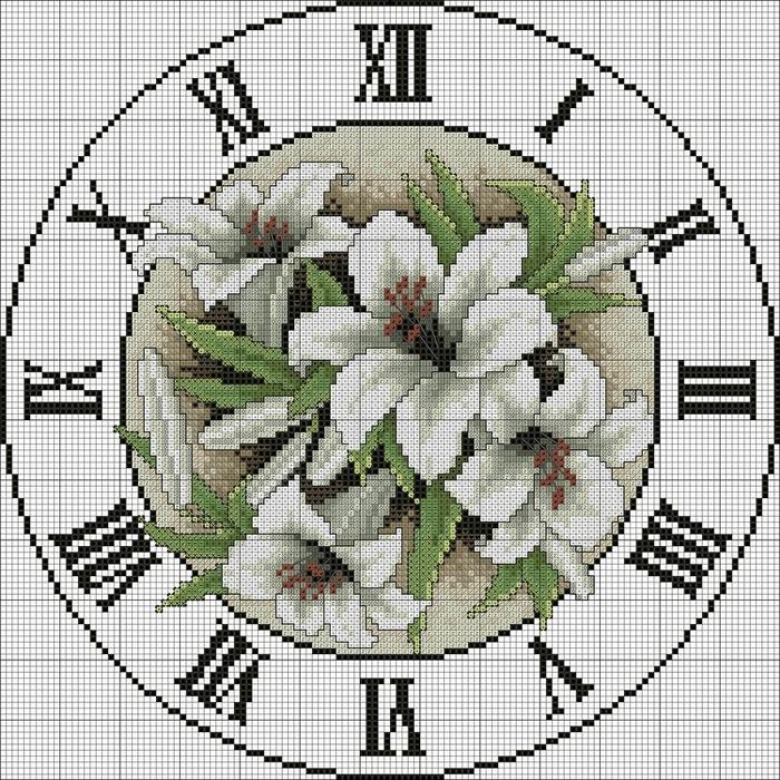 Вышивка крестом часы схема