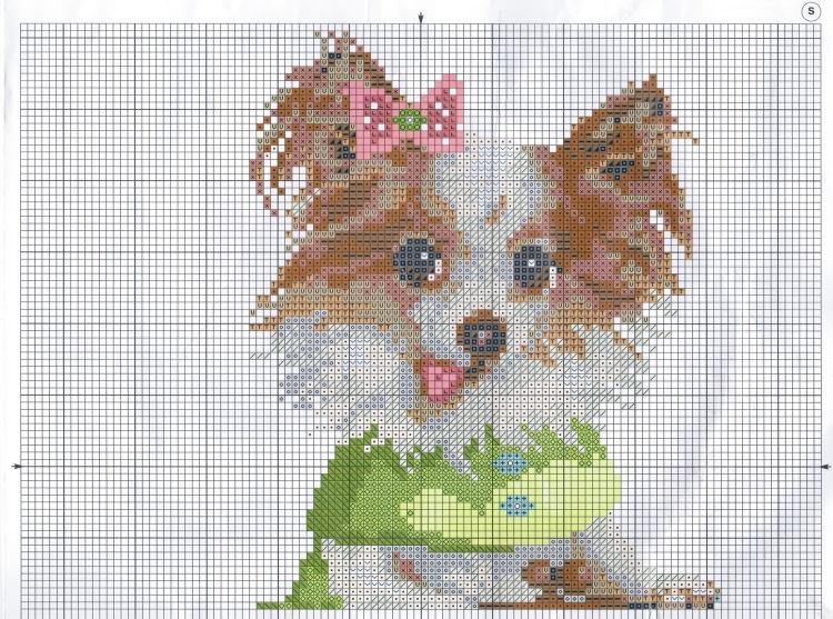 Мини схемы для вышивки собаки