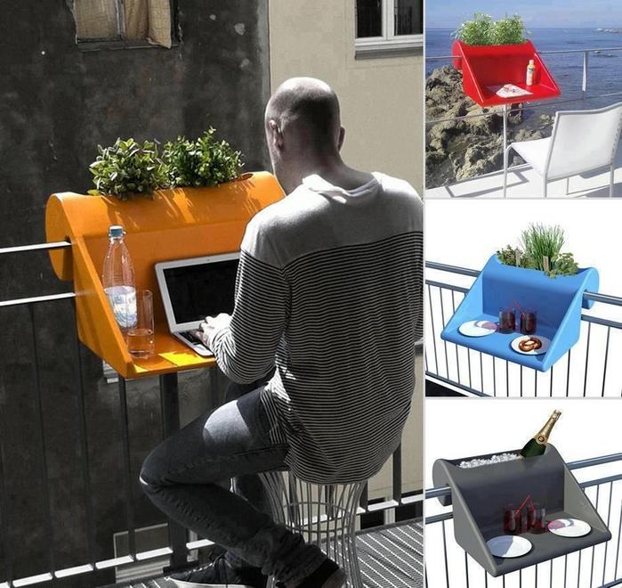Идея стола для маленького балкона
