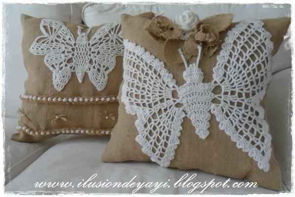 Бабочка крючком для украшения подушки из мешковины. Схемы бабочек (6) (600x401, 223Kb)