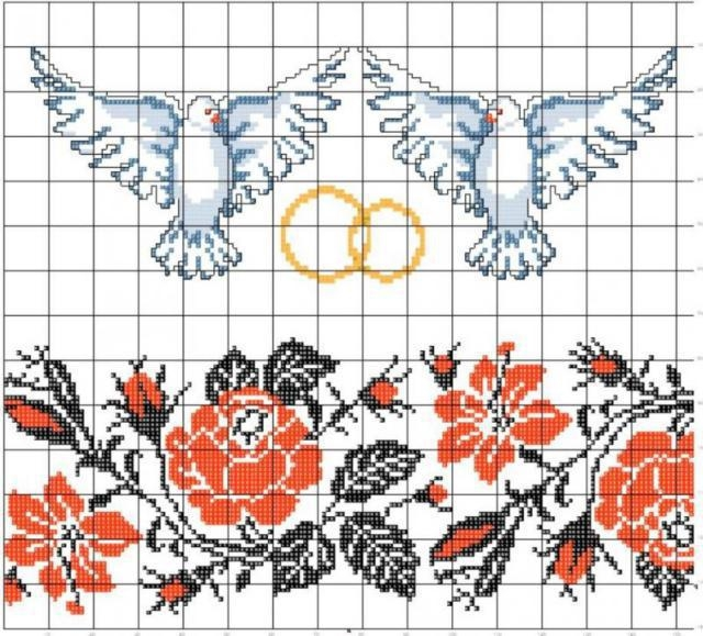 Схема вышивки крестом рушник