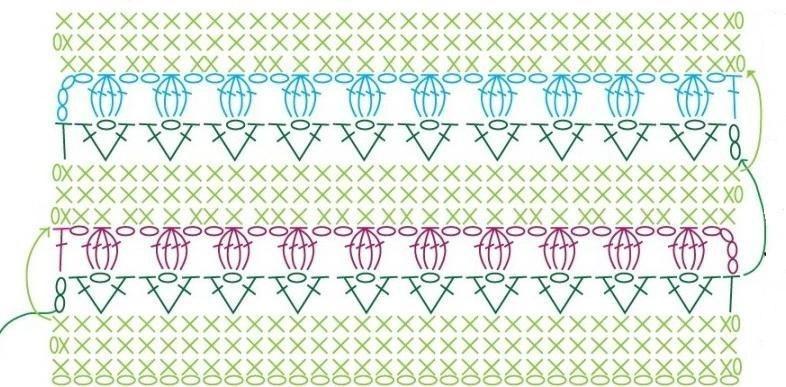 Схема узора тюльпаны крючком