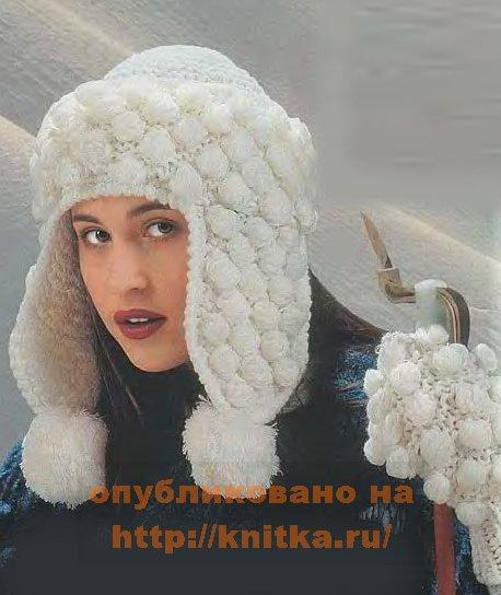 вязаная шапка ушанка и