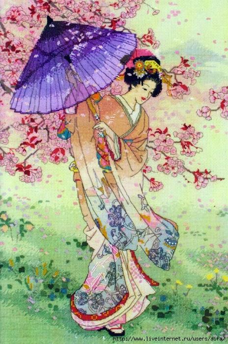 Схема вышивки японка с