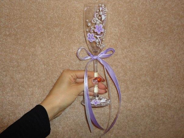 Как своими руками оформить бокалы на свадьбу
