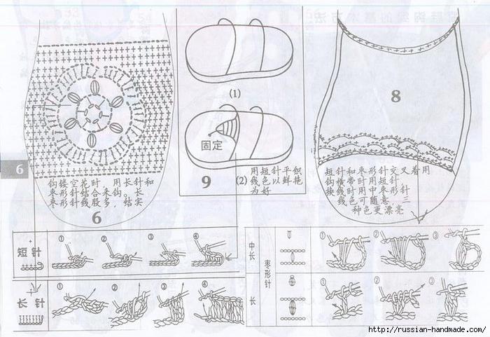 Вязаная крючком летняя обувь. Схемы (11) (700x481, 270Kb)