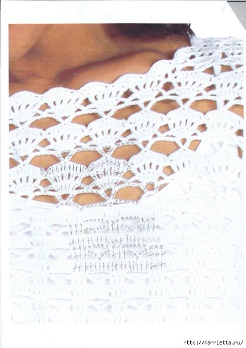 Белое платье ПАРАД УЗОРОВ КРЮЧКОМ. Схемы (1) (494x700, 234Kb)