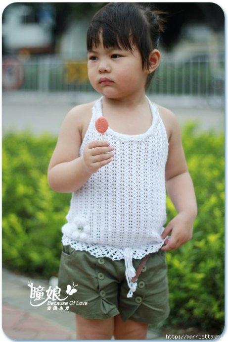 Летний топик крючком для маленькой девочки. Схемы (15) (461x690, 152Kb)