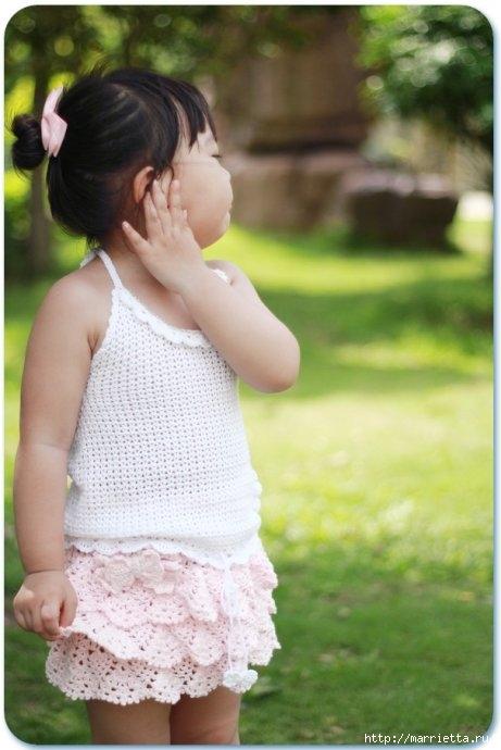 Летний топик крючком для маленькой девочки. Схемы (23) (461x690, 154Kb)