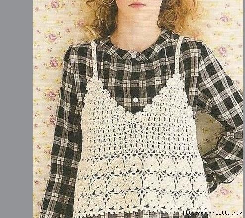 Вязание крючком. Розовый сарафан и платьице для девочки (4) (494x441, 229Kb)