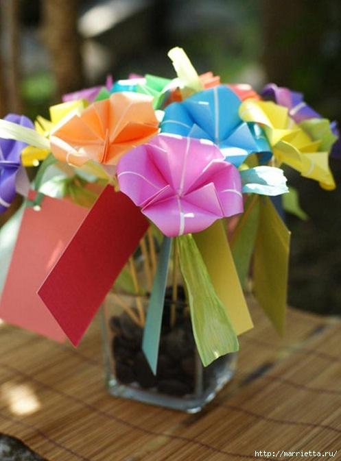 Букет цветов оригами из бумаги. Фото мастер-класс (1) (497x673, 169Kb)