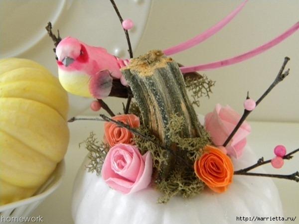 Топиарий из веток для птички и красивая композиция из тыквы (11) (600x450, 139Kb)