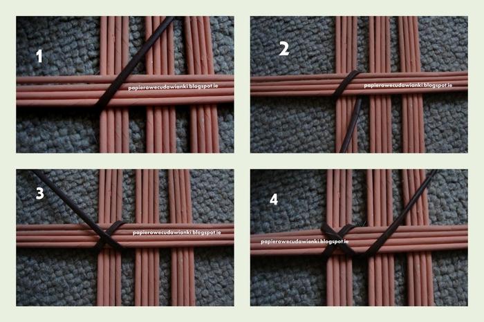 Плетение из газет. Узор для крышки корзинки. Мастер-класс (15) (700x466, 239Kb)