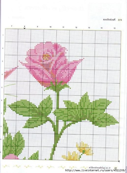 Бабочки на розах вышивка крестом