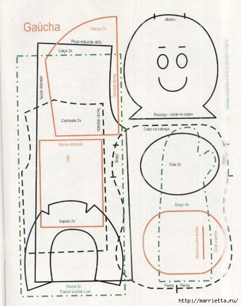 сшить куклу. журнал с выкройками (6) (485x616, 171Kb)