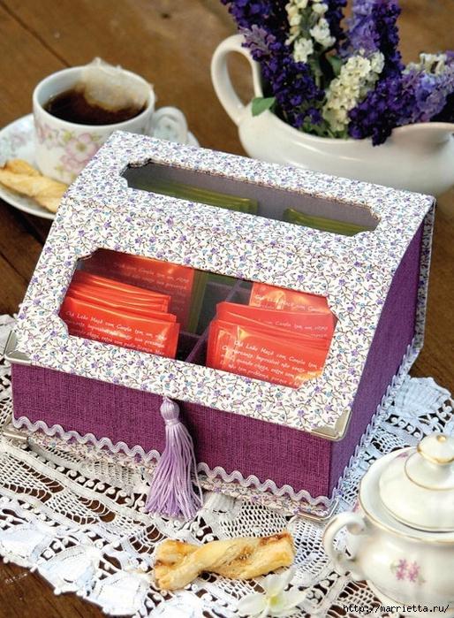Коробочка из картона для чайных пакетиков. Фото мастер-класс (1) (514x700, 377Kb)
