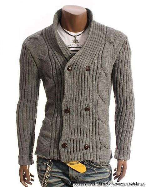 Описание: вязаный мужской жакет с капюшоном. вязаные кофты с v-образным вырезом.  Автор: Лайма.
