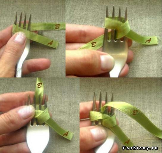 Как сделать бантики из атласных ленточек на вилке своими руками пошагово