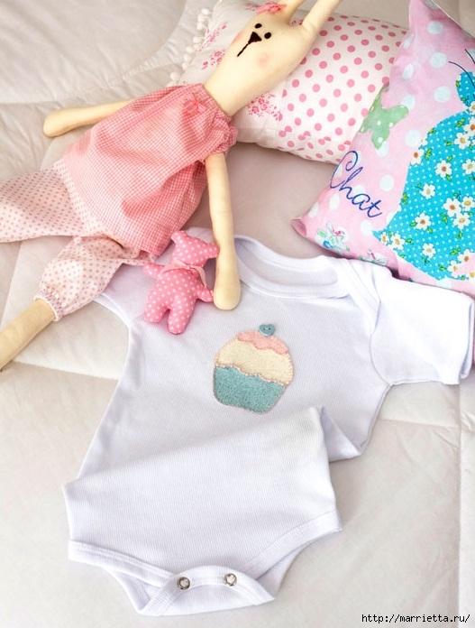 Простенькая аппликация кекса для украшения одежды новорожденного (1) (527x696, 218Kb)