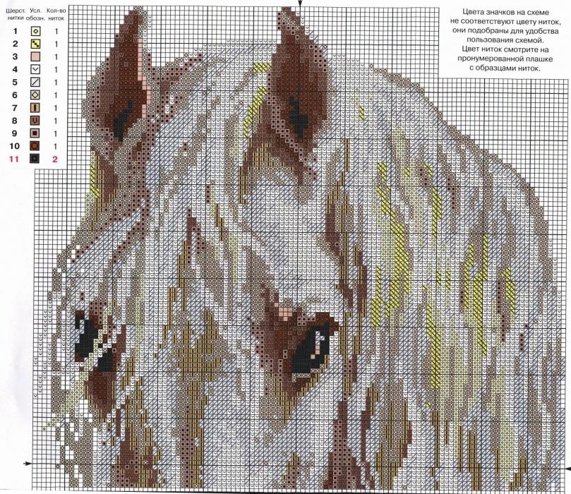 Схемы вышивок крестом лошади луна