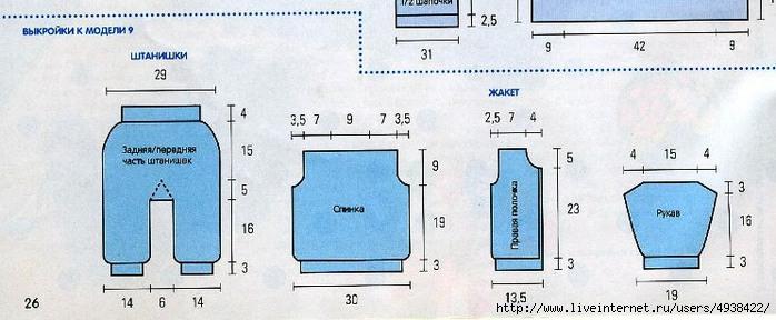 схема вязания спицами штанишек.