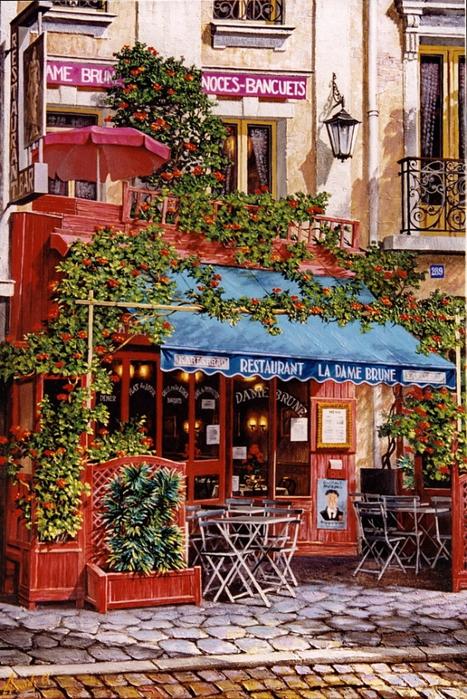 Схема вышивки Кафе в Париже