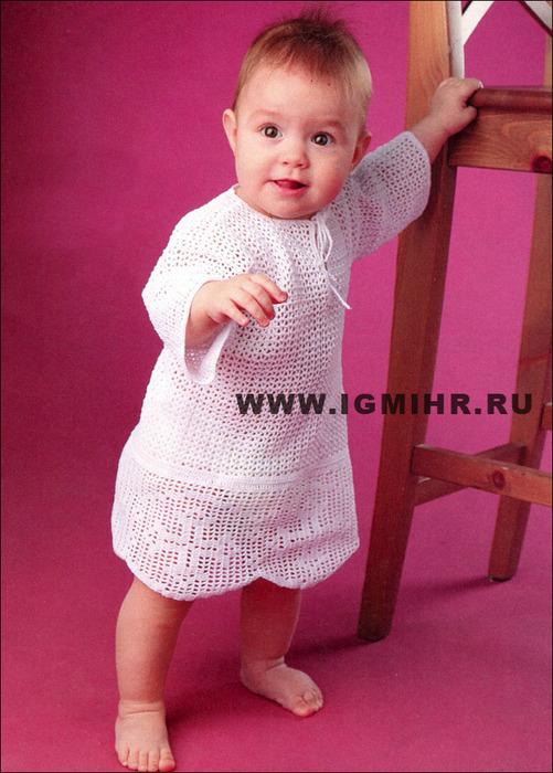 крестильная рубашка крючком. вязание для детей крючком. вязание для малышей.