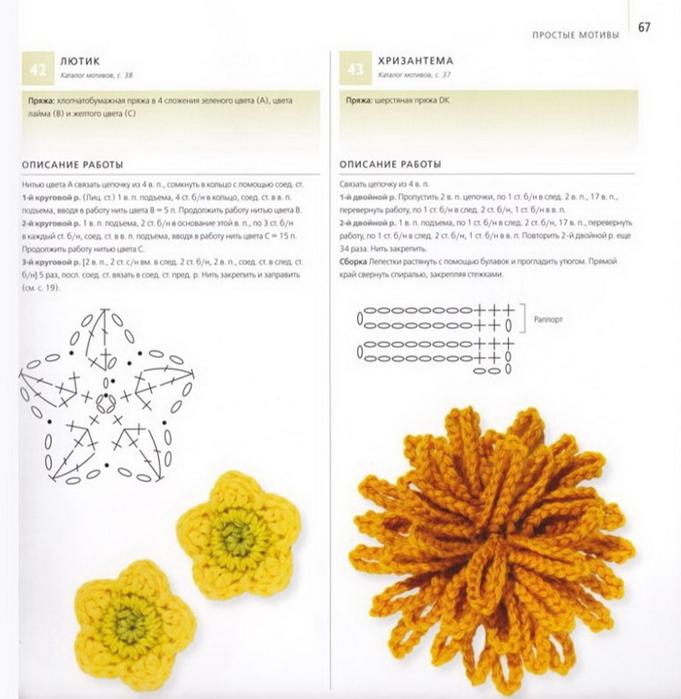 100 вязаных цветов спицами и крючком (64) (681x700, 232Kb)