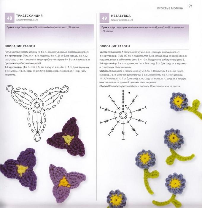 100 вязаных цветов спицами и крючком (68) (681x700, 252Kb)
